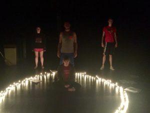 Charlotte Stephens, Katie Brewer-Calvert, Elias Hanna, and Ben Wagner acting in Dane Ritter's play.