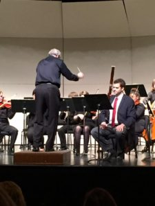Turner performing the classic Mozart bassoon concerto in April 2016 with the Transy Chamber Orchestra, as Ben Hawkins conducts. Photo uploaded to Facebook by Lois Wiggins.