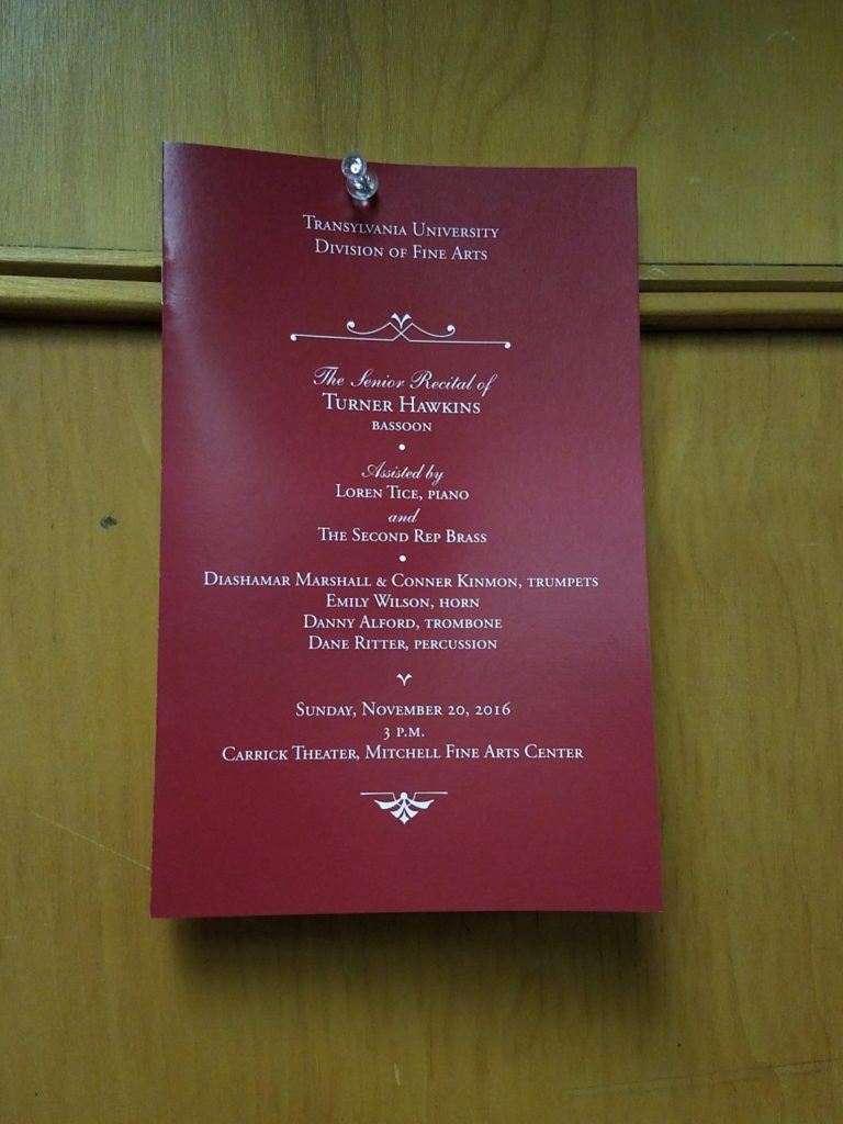 Turner Hawkins' senior recital program.