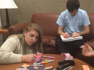 Jessica Taylor '17 and Daniel Cooper '19 make their own links of hope