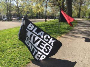 A Black Lives Matter flag flying at Duncan Park