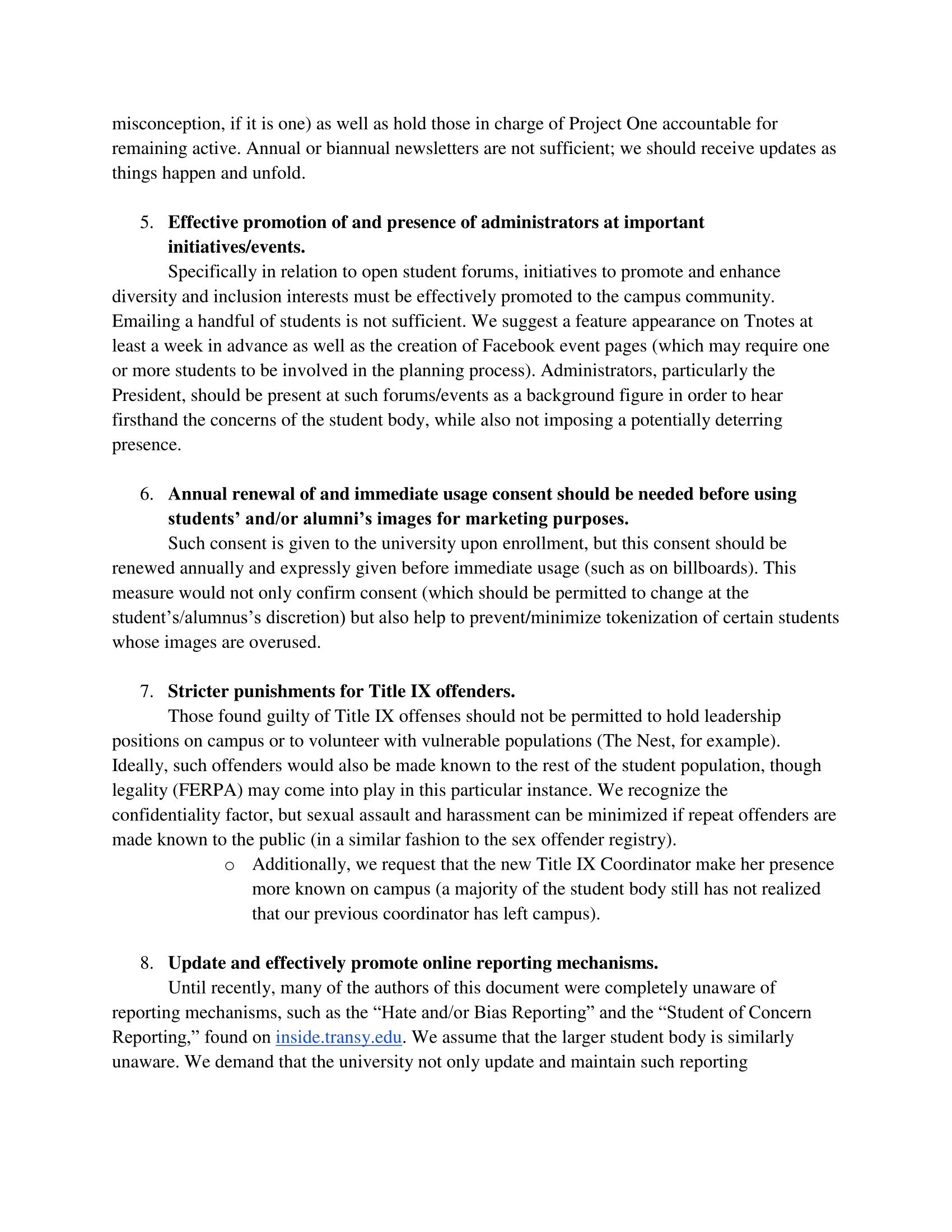 Demonstrators' list of demands, page 2