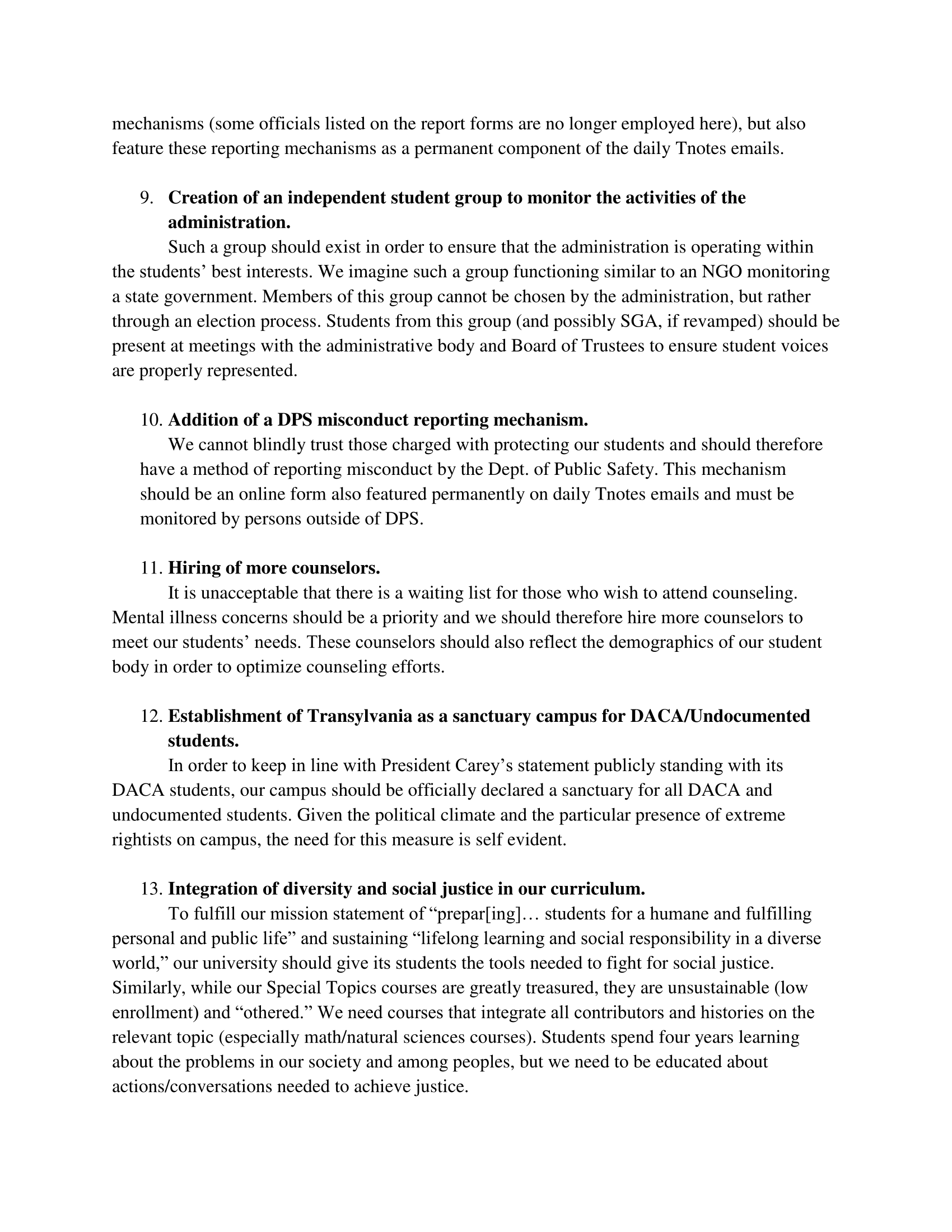 Demonstrators' list of demands, page 3